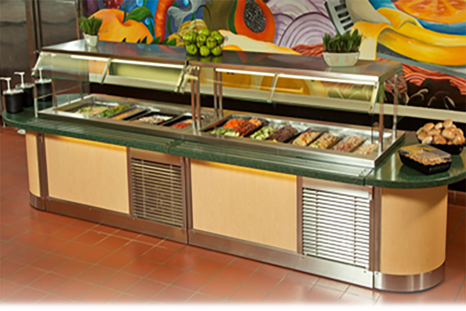 Salad Bar Cabinet Site Picture - G.A. Systems, Huntington Beach
